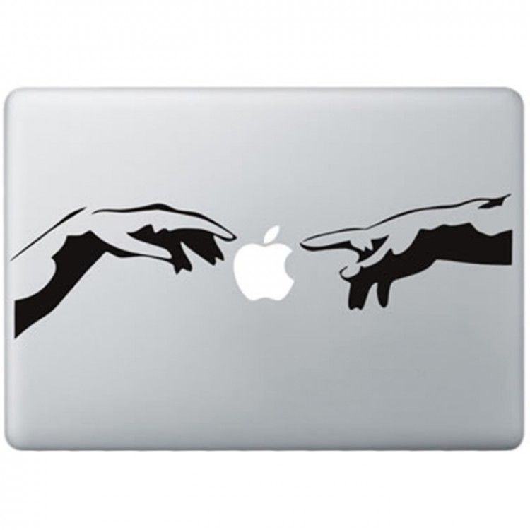 The Creation of Adam MacBook Sticker Zwarte Stickers
