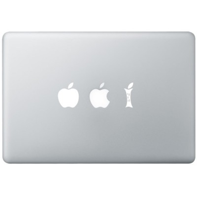 Eating Apple MacBook Sticker Zwarte Stickers