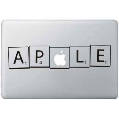 Scrabble Macbook Sticker Zwarte Stickers