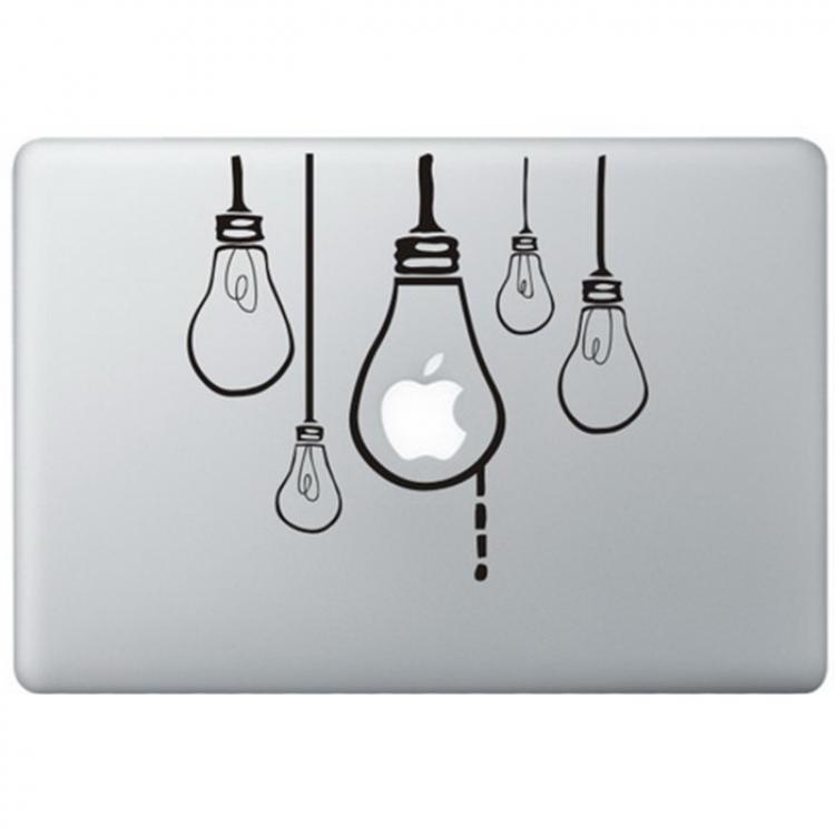 Hangende Lampen MacBook Sticker Zwarte Stickers