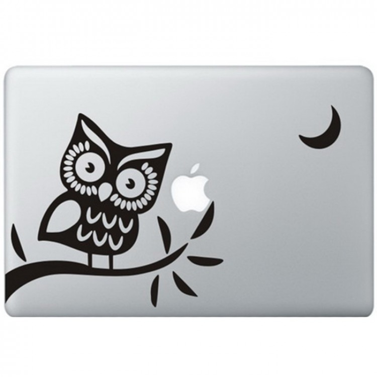 Uil (2) MacBook Sticker Zwarte Stickers