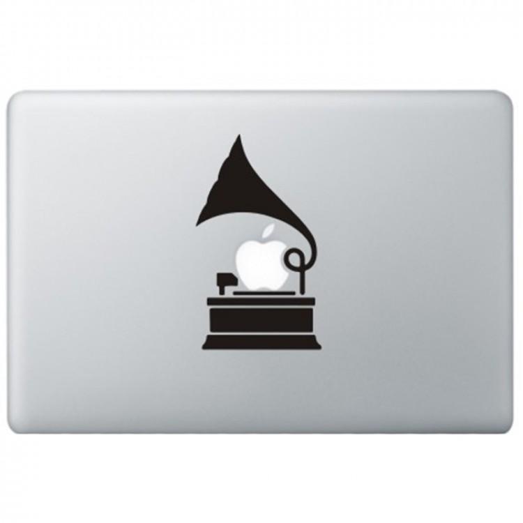 Grammofoon MacBook Sticker Zwarte Stickers