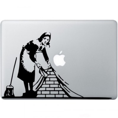 Banksy Maid In London Macbook Decal Zwarte Stickers