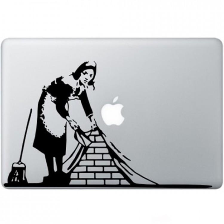 Banksy Maid In London Macbook Decal Zwarte Stickers